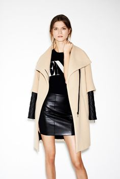 Leather skirt and jacket.