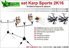 Kaprový 16 dielny set 2 x kaprový prút 2 diel, 3,5lb, 3,60m + 2 x dvoj brzdový navijak 4500 +2 x signalizátor + 3 x swinger + 6 x rohatinka + stojan