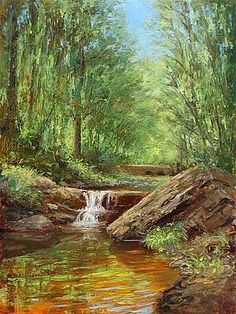 riding the sidecar to some place pretty, then picnicking and painting.  then ride home.  Rock Brook - Landscape Paintings by Joe Kazimierczyk