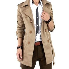 Men's Winter Slim Double Breasted Trench Coat Long Jacket Overcoat Outwear S-3XL