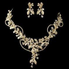 Gold Ivory Seed Pearl, Swarovski Crystal & Rhinestone Floral Jewelry Set 9306