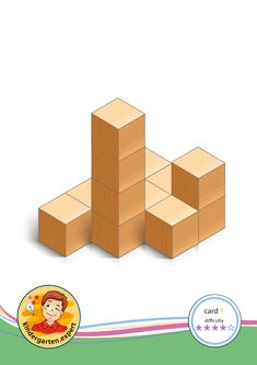 Building card 1 difficulty level 4 for toddlers, kindergarten, Preschool card building blocks with toddlers difficulty free printable. Cube Pattern, Pattern Blocks, Stem Activities, Toddler Activities, Math Lab, Math Patterns, Math Crafts, Motor Planning, Block Area