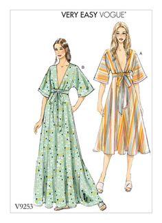 Vogue Patterns Misses' Deep-V Kimono-Style Dresses with Self Tie Sewing Pattern, Red Kimono Style Dress, Kimono Fashion, Diy Fashion, Ideias Fashion, Fashion Dresses, Vogue Dresses, Slip Dresses, Origami Fashion, Vogue Fashion