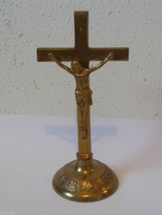 "VINTAGE 7"" SOLID BRASS JESUS CHRIST ON THE CROSS FIGURINE INDIA ~B"