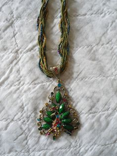Multiple Strand Peacock Necklace by LandofBridget on Etsy, $12.00
