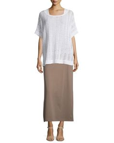 Short-Sleeve+Scalloped+Easy+Sweater,+Soft+Scoop-Neck+Tank+&+Interlock+Maxi+Skirt,+Women\'s+by+Joan+Vass+at+Neiman+Marcus.