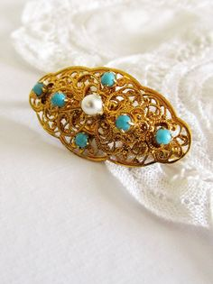 Madeleine - Vintage Victorian Revival Gold Filigree Pin with Pearls and Faux Pearl marked Austria