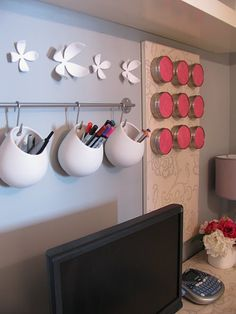 Using IKEA products to organize the office.  (Magnetic board, Towel Bar with hooks & cups) Ikea asker series gadget holders
