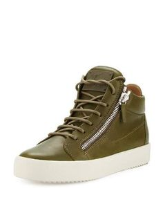 GIUSEPPE ZANOTTI X Zayn Men'S Leather Double-Zip Mid-Top Sneaker, Olive. #giuseppezanotti #shoes #