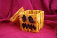 Light Up Minecraft Pumpkin Box Made of Perler Beads with Removable Lid Perfect for Halloween via Etsy Melty Bead Patterns, Perler Patterns, Beading Patterns, Minecraft Pumpkin, Hama Beads Minecraft, Perler Beads, Fuse Beads, Nightmare Before Christmas, Creepy