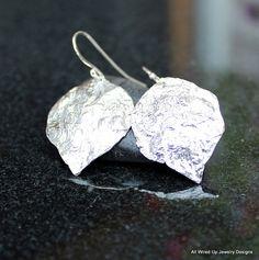 Reticulated Sterling Leaf Earrings  Aspen Leaf Earrings by PPennee, $65.00