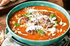 """""""Hearty and satisfying, this meatball soup has a surprising twist, and is best served with a glass of robust red."""" - Katie Quinn Davies."""