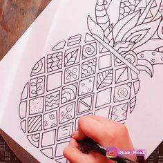 Doodle Art For Beginners, Easy Doodle Art, Doodle Art Designs, Doodle Art Drawing, Zentangle Drawings, Cool Art Drawings, Art Drawings Sketches, Easy Art, Doodles Zentangles