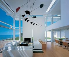 Waterfront House with Alexander Calder Mobile