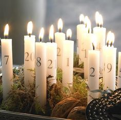 We use an advent candle that counts down the days to Christmas, but I really like this idea of using 24 candles.  (Plus, it's probably less expensive than tracking down and importing a proper Advent Candle from Scandinavian every year.  Just sayin'.)