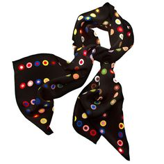 19th-Century French Dot Pattern Silk Scarf - Black