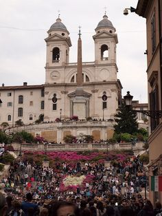 The Spanish Steps, filled with flowers and tourists, Rome, Italy