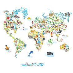 Фотообои: Карта мира с животными   рро   Pinterest
