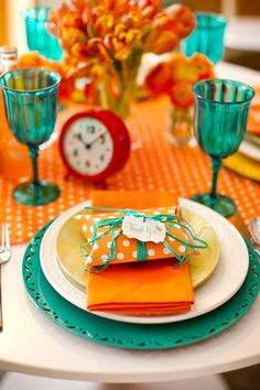 Great color combo. I can see this for a wedding brunch. Of even the rehearsal dinner. You just need colors.