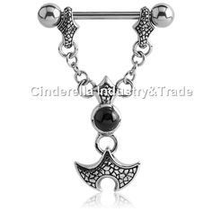 """5//16/""""-7//16/"""" Silver Steel Banana Belly Button Ring 7mm Hematite Stone 1.6mm 14G"""