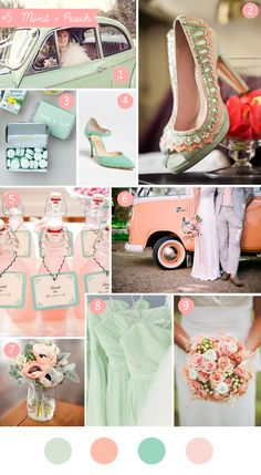 Mint + peach wedding inspiration board