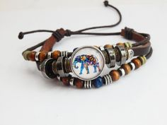 Elephant Snap Bracelets Elephant Jewelry Leather African Bracelets Beaded Teen Jewelry Ginger Snap  Bracelets Animal Cute Braclet Adjustable by TheBlackerTheBerry