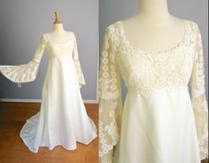 Vintage 60s 70s Teeny by PRISCILLA of BOSTON Wedding Gown Lace Wedding Dress Empire Waist Train Bell Sleeves Illusion Neckline Hippie BOHO
