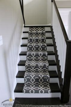 40 minute $140 gorgeous staircase makeover with carpet runners from Target!! http://www.whatroseknows.com