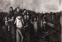 Refugees  Aquarelle-pen-drawing  A3 Frence - Toulouse