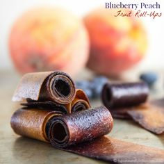Blueberry Peach Fruit Roll-Ups swirl together two favorite summer fruits into one sweet and healthy snack perfect to pack in a lunchbox.