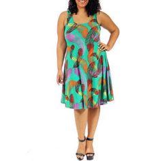 24/7 Comfort Apparel Women's Plus Size Feather Print Sleeveless Tank Dress, Size: 2XL
