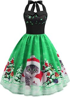 : : Christmas Dresses Women Long Sleeve Xmas EIK Tree Printed Dress A-line Vintage Cocktail Holiday Party Dress Costumes Vintage Christmas Dress, Christmas Dress Women, Christmas Fashion, Christmas Hat, Christmas Print, Retro Christmas, Snowflake Dress, Holiday Party Dresses, Dress Party