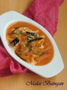 Malai Baingan/Eggplant in Creamy Tomato Sauce Indian Vegetarian Dishes, Creamy Tomato Sauce, Eggless Baking, Gravy, Eggplant, Thai Red Curry, Ethnic Recipes, Food, Salsa