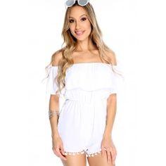 Sexy White Sheer Off The Shoulder Short Sleeve Pom Pom Trim Casual Romper