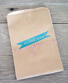 LetteryKay - 15% store-wide with coupon code Spring12  Kraft Paper Bags Thank You Set of 12  Party Favor by LetterKay, $6.50