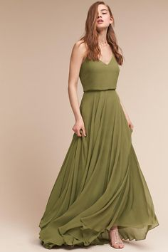 Love the olive green color as well. Shorter would be better though.   Olive Inesse Dress | BHLDN