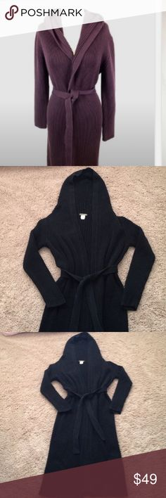 """J. Crew Sweater Coat J. Crew Long Ribbed Hooded Sweater Coat. This has a removable belt and is a heavier, 100% cotton. In my option, this would fit size 0 to a size 4. Length from to top of the shoulder is approximately 45"""" inches. First picture is just to show the fit, mine is black. Good condition!!!!!🌺 J. Crew Jackets & Coats"""