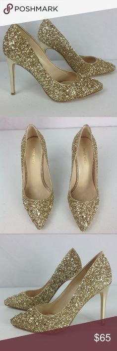 """Nine West Gold Elenah Synthetic Dress Pumps SZ 7M The most wear on these is in between the 2 shoes where they would rub (missing sparkles). The backs are missing some minimal sparkles as well. The heels show very minimal wear/scuffing!  The heels are just over 4 inches tall (not quite 4.25 inches). """"Well, Tamatoa hasn't always been this glam I was a drab little crab once Now I know I can be happy as a clam Because I'm beautiful, baby"""" (from Moana) Nine West Shoes Heels"""
