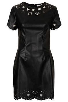 **Laser Cut PU Dress by Lashes