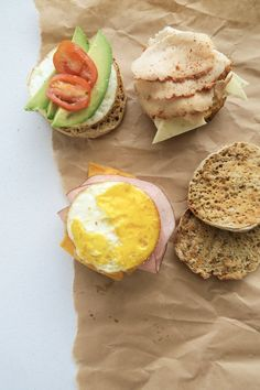 Meal Prep Breakfast Sandwiches 3 Ways - These high-protein sandwiches don't take any more time than you'd spend at the drive thru. Vegan Meal Prep, Lunch Meal Prep, Easy Meal Prep, Quick Meals, Bacon Breakfast Sandwiches, Breakfast Meat, Vegan Breakfast Recipes, Healthy Recipes, Healthy Meals