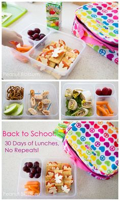 {Back to School: 30 Days of Lunchboxes, No repeats!} *Great kid-friendly combos your little student will actually eat but take just minutes to pull together.