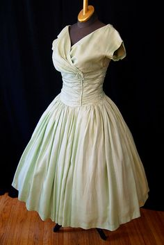 Gorgeous 1950's I Magnin designer mint green silk new look party dress vlv rockabilly pin up girl - size Medium. $198.00, via Etsy.