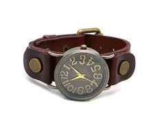 Antique Watch Face Genuine Leather Watch... going on the wish list!