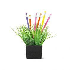 Zo groen als gras... In dit grasveld steek je pennen of potloden zodat je ze niet kwijt raakt. 4 EUR
