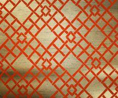 Retro Flock Wallpaper by the Yard 70s Vintage Flock Wallpaper - 1970s Orange Flocked Bamboo Lattice on Metallic Gold by RetroWallpaper on Etsy https://www.etsy.com/listing/155433739/retro-flock-wallpaper-by-the-yard-70s