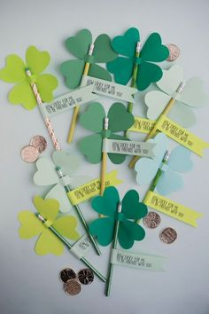 Why should Valentine's be the only holiday to share a treat at school? These lucky 4-leaf clover pencils are easy to make in bulk, and you can get 12 pencils for $1 at the dollar store. Or make a few