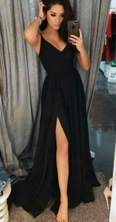 modest black long prom dress with slit, simple spaghetti straps evening gowns, unique a line chiffon party dress 0421 - - Source by keannalu Winter Formal Dresses, Black Prom Dresses, Cheap Prom Dresses, Prom Party Dresses, Modest Dresses, Elegant Dresses, Pretty Dresses, Dress Party, Prom Dresses Black Long