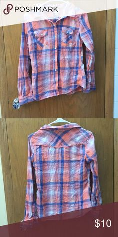 Orange and blue plaid shirt Will be iorned before shipment ! Unfair price?? Make me an offer  Mossimo Supply Co. Tops Tees - Long Sleeve