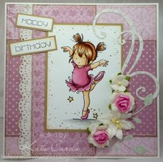 Pink and girly birthday card with a rubber stamped image of a ballerina from Lili of the Valley