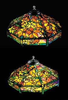 A 'WOODBINE' LEADED GLASS AND BRONZE CHANDELIER   Tiffany Studios, circa 1910   27in. (68.6cm.) diameter of the shade   the shade tag stamped TIFFANY STUDIOS NEW YORK 609-21